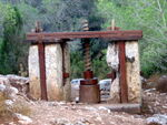 Restored olive press from the Roman Empire