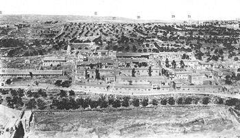 FOUTH OF EIGHT PHOTOS OF A PANORAMIC VIEW OF JERUSALEM IN THE BEGINNING OF THE 20TH CENTURY. IN PHOTO, YEMIN MOSHE NEIBOURHOOD. חלק מס' 4 מתוך 8 תצל