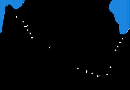 מפת תוואי המסילה והתחנות העיקריות שנבנו עד שנת 1948. בשחור מסומנות התחנות המקוריות משנת 1905- ויקיפדיה