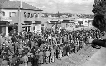 A DEMONSTRATION OF KFAR SABA'S RESIDENTS AGAINST THE BRITISH. הפגנת מחאה של תושבי הישוב כפר סבא נגד הבריטים.