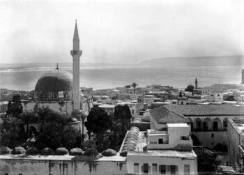A view of Acre and the coast. A mosque and minaret are to the left. This is the fourth image in a seven part panorama. c 1918. B02197