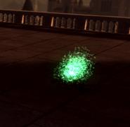 Пятно с зеленым свечением