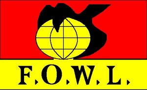 """The F.O.W.L. logo seen in """"Trading Faces""""."""