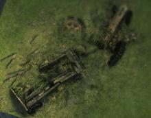 The broken tractor as seen in-game