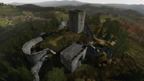 Aerial shot of Zub Castle