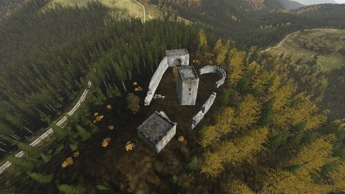 Aerial shot of Rog Castle