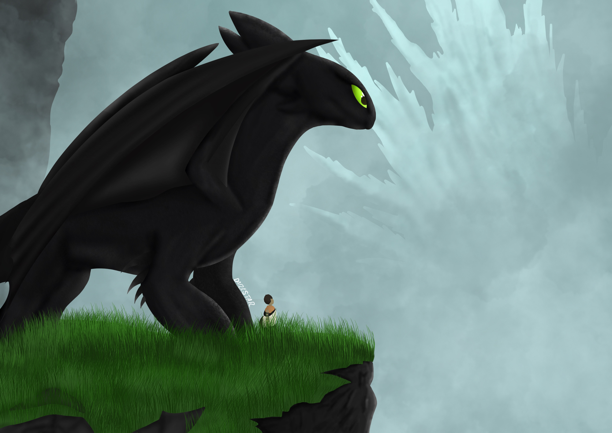 Art I did for the #VideoGameDragons contest on HTTYD Amino (HTTYD & The Last Guardian).