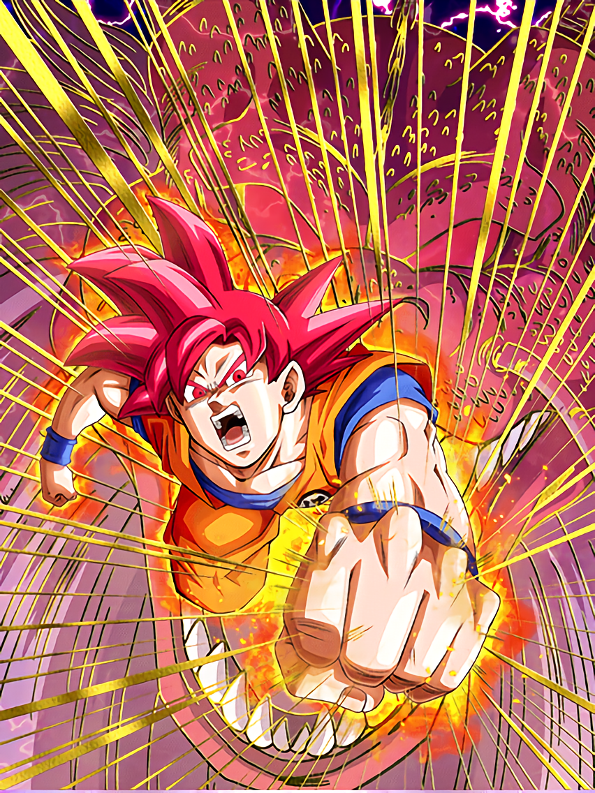 Fist from the Heavens Super Saiyan God Goku