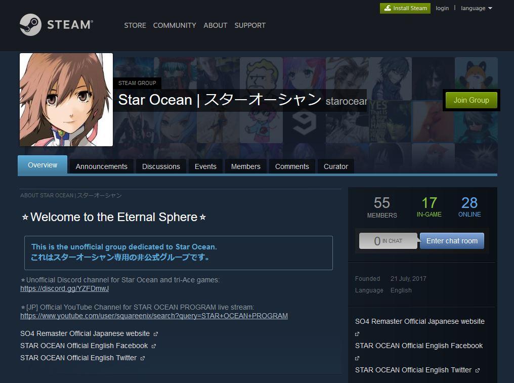 STAR OCEAN Steam Group