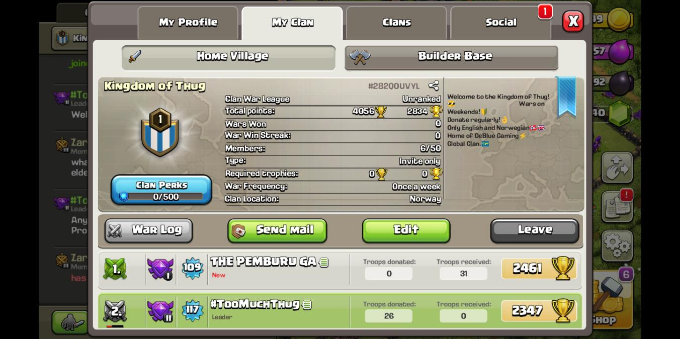WE NEED MEMBERS FOR OUR NEW CLAN! ONLY LOYAL MEMBERS! JOIN US NOW! ANYONE FROM TH4 OR TH5 CAN JOIN!