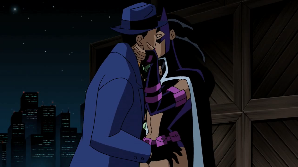 Huntress and Question kiss.png