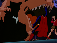 Superman vs T-Rex