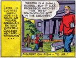 """Aquaman adotou uma identidade secreta temporário como """"Sr. Waterman"""" em 1947, a fim de se matricular na faculdade nos EUA a partir de Adventure Comics #120 (setembro de 1947)."""