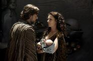 MoS-Jor-El and Lara Lor-Van with baby Kal-El