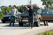 MoS-BTS-Henry Cavill, Zack Snyder and Kevin Costner on set