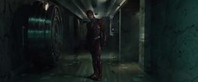 Barry Allen apprehends Captain Boomerang