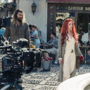 Jason Momoa and Amber Heard in a square on the set of Aquaman