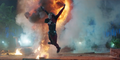 Harley jumps from explosion
