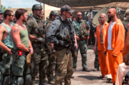 Soldiers face Task Force X in prison uniform