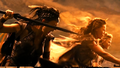 Menalippe, Hippolyta and Antiope fight against Steppenwolf's hordes