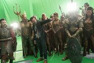 JL-BTS - Zack Snyder and atlanteans on set
