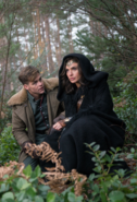 Steve Trevor and Diana in a forest