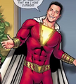 Billy Batson as a superhero tries to fool Shirley