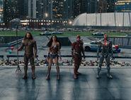 JL-Justice League looking at Superman