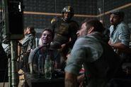 JL-BTS - Eli Snyder, Zack Snyder and Ray Fisher on set