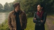 Justice League (2017).Wonder Woman and Batman discuss Motherboxes