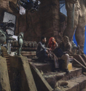 James Wan, Amber Heard and Jason Momoa on the set of Aquaman