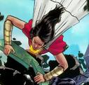 Mary Bromfield as a superhero attacks a museum robber