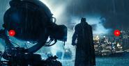 Batman shines the Batsignal in to the sky