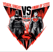 The Dark Knight v The Man Of Steel-promo art