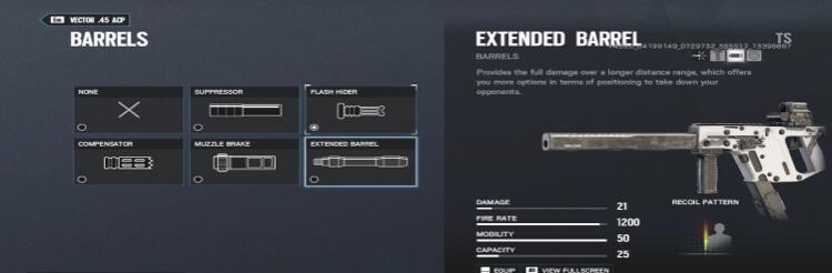 vector extended barrel?