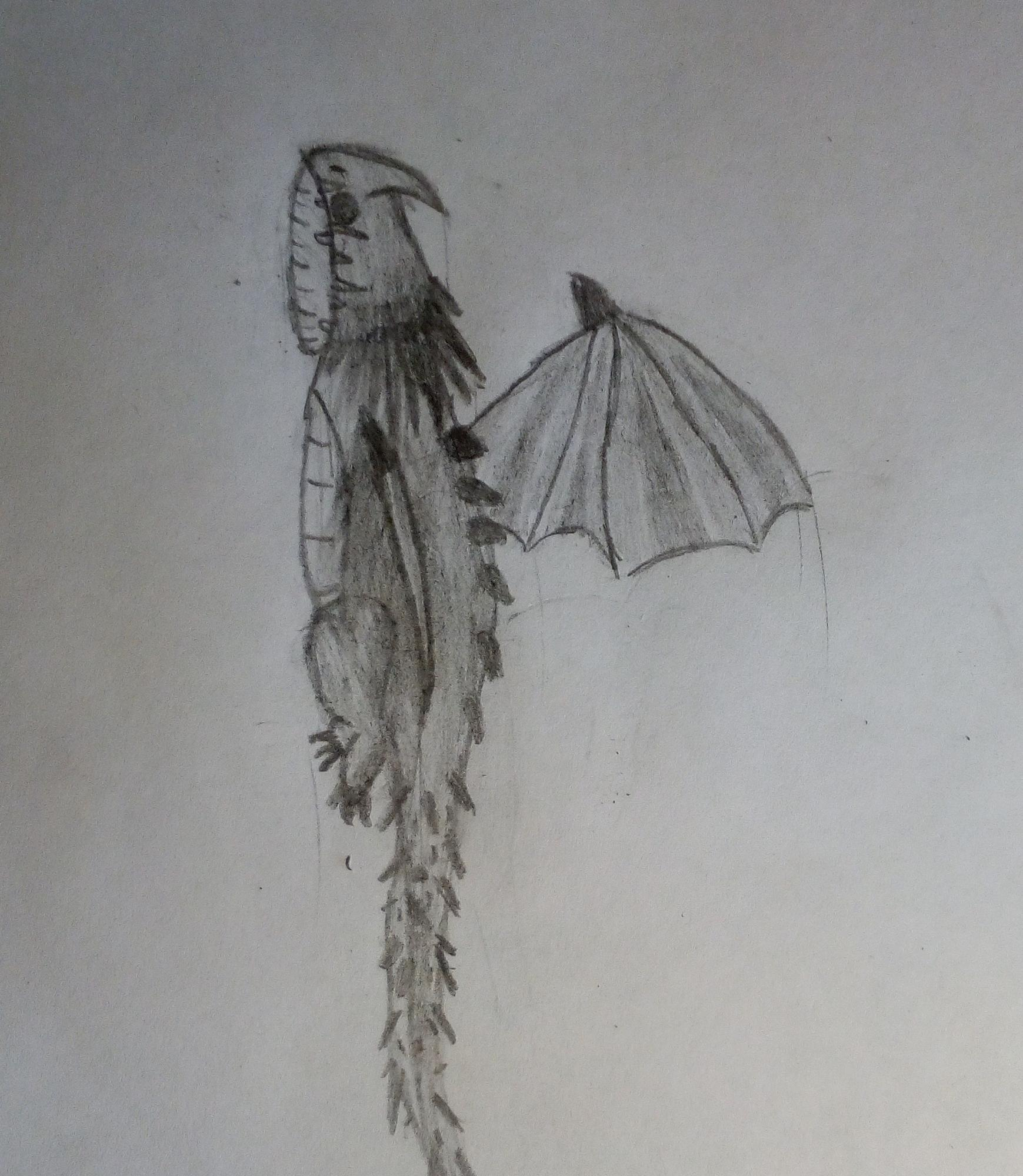 Aquí el dibujo del Nadder, no me salió muy bien ,Perdón, pero lo intenté 😅