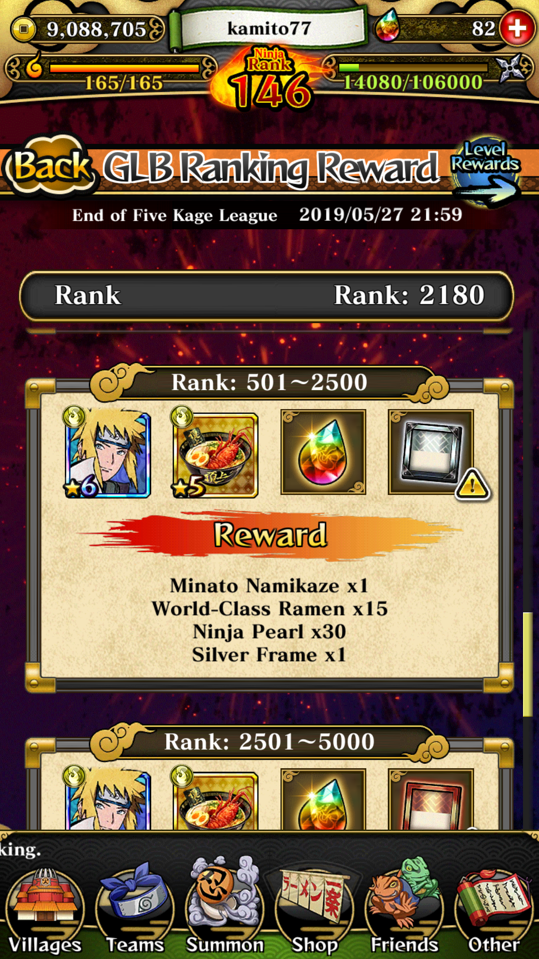 If I'm in this rank, wich Will be my reward?