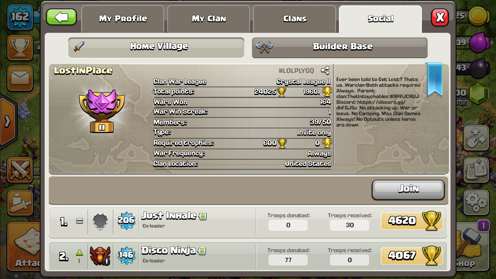 LGBTQIA friendly clan! My names thenotoriousone and we're an old clan looking to fill what ever available spots we have! This is our feeder!