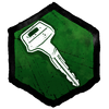 """""""Ein zerbrochener Schlüssel, der zu einem Fahrzeug unbekannter Marke gehört. Ein daran befestigtes Schlüsselband identifiziert den Besitzer als einen gewissen A. Azarov."""""""