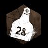 """""""Eine blutverschmierte Rindermarke, gekennzeichnet mit Nummer '28'."""""""