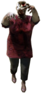 Dead rising zombie woman fat red shirt white bandage