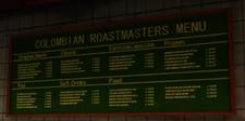 Columbian Roastmasters Menu