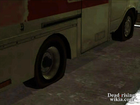 Dead rising flattened tires of delivery truck