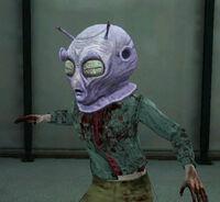 Dead rising alien head on zombie