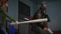 Stacey attacking Sullivan with the baseball bat