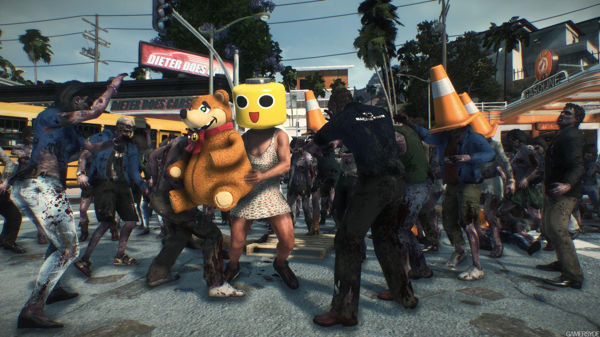 Dead rising 3 servbot mask robot bear dieter does cars zip gasoline PYLON.jpg
