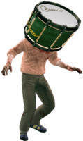 Dead rising drum on zombies head