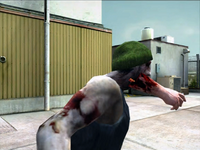 Dead rising zombie with hunk of meath jammed in mouth