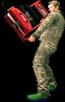 Dead rising lawn mower holding