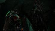 Deadspace3 aliencity entrance alien on wall